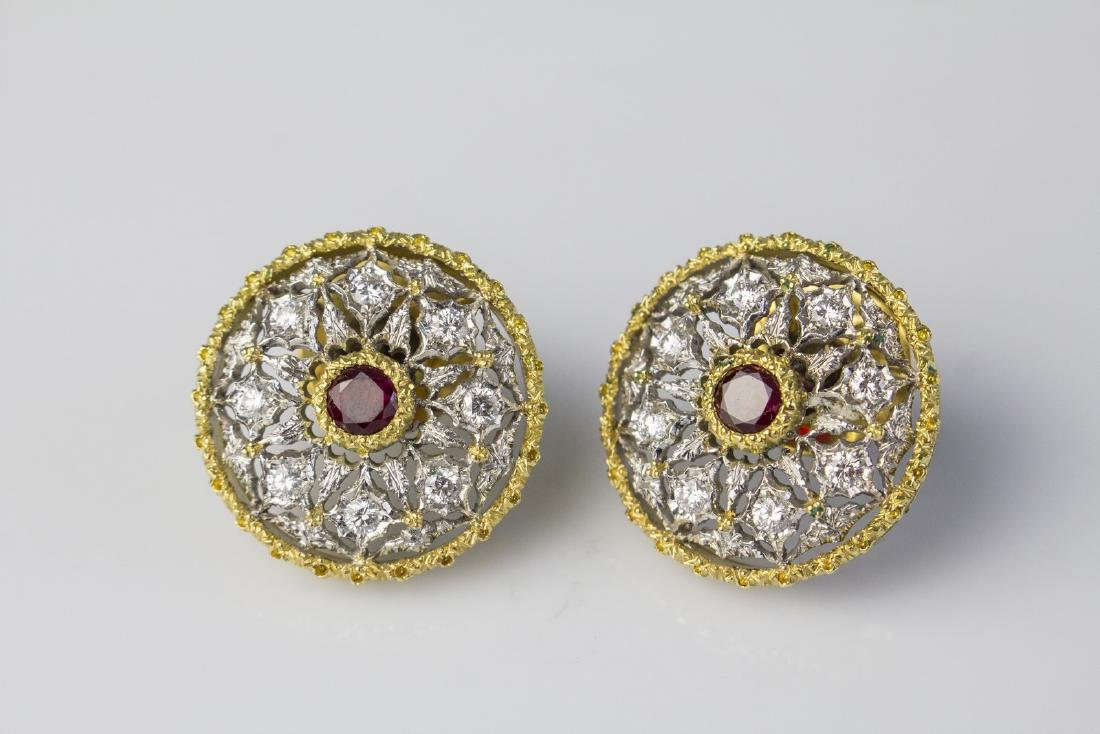 [Nessun Autore] Pair of gold earrings with diamonds and