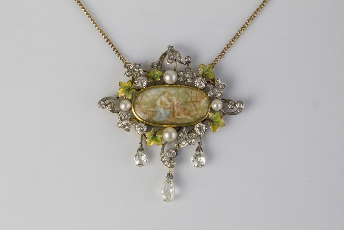 [Nessun Autore] Art nouveau gold pendant with diamonds