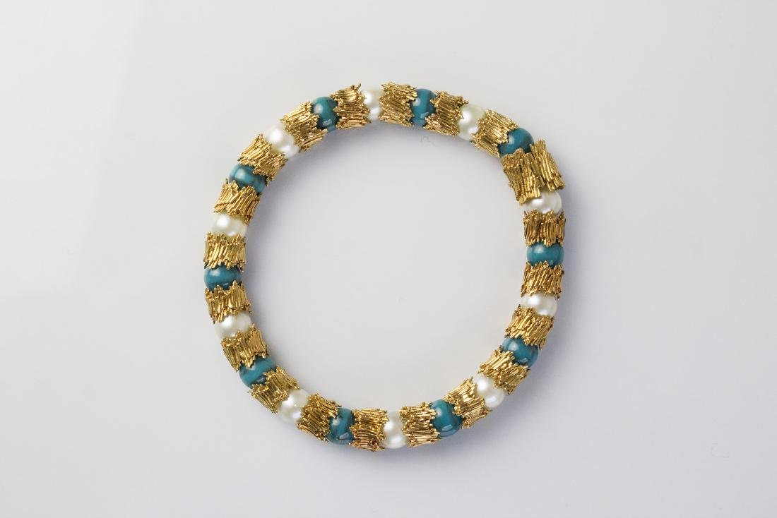 [Nessun Autore] Gold bracelet with pearls and