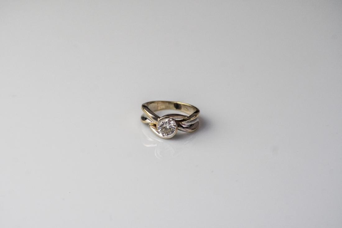 [Nessun Autore] White gold ring with solitaire diamond