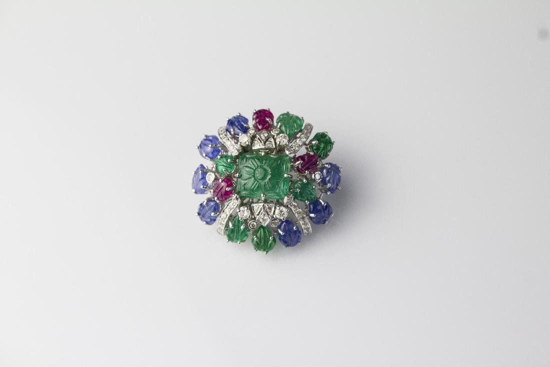 [Nessun Autore] Brooch with diamonds, sapphires, rubies