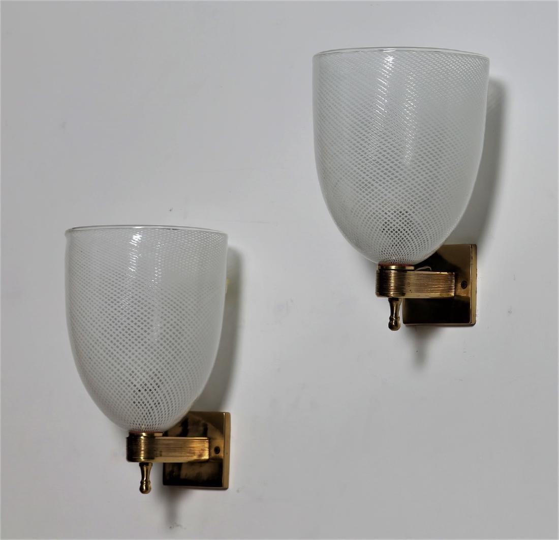 VENINI  Coppia di lampade da parete .
