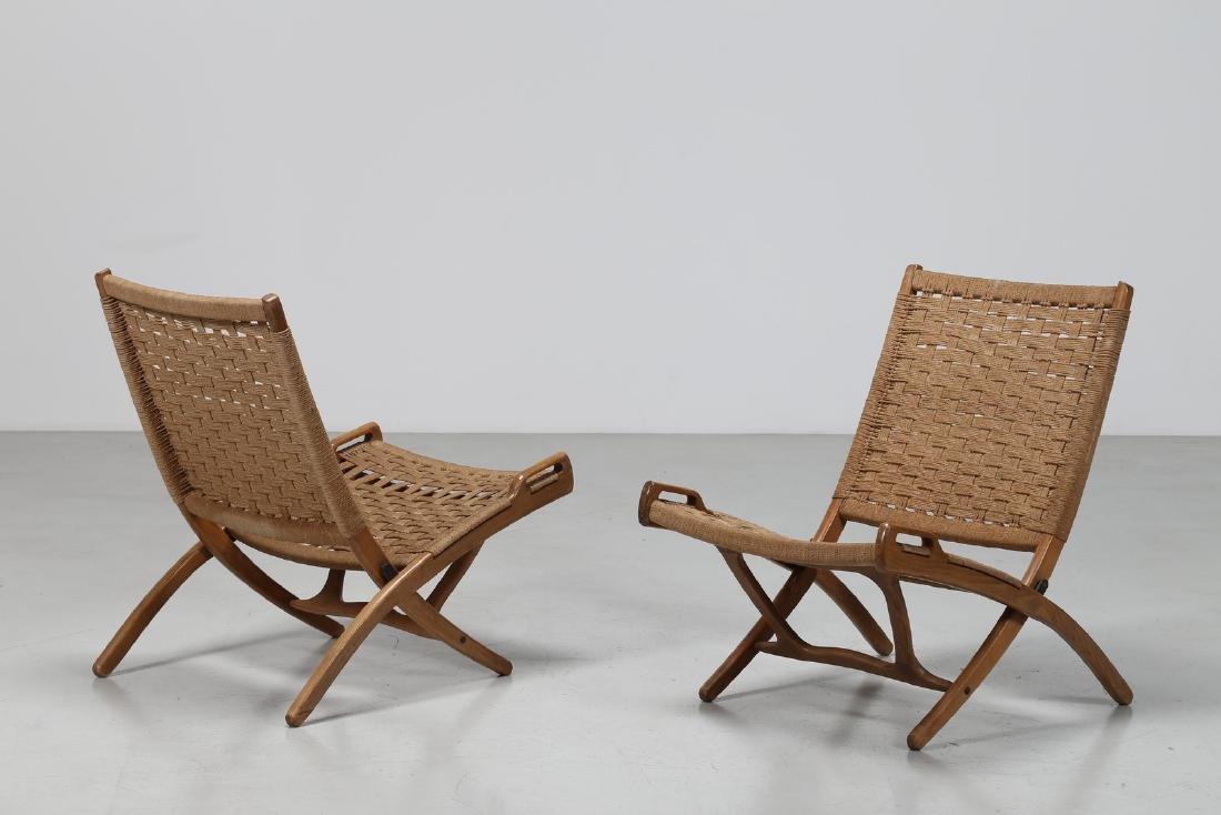 HANS J. WEGNER Pair of folding armchairs.