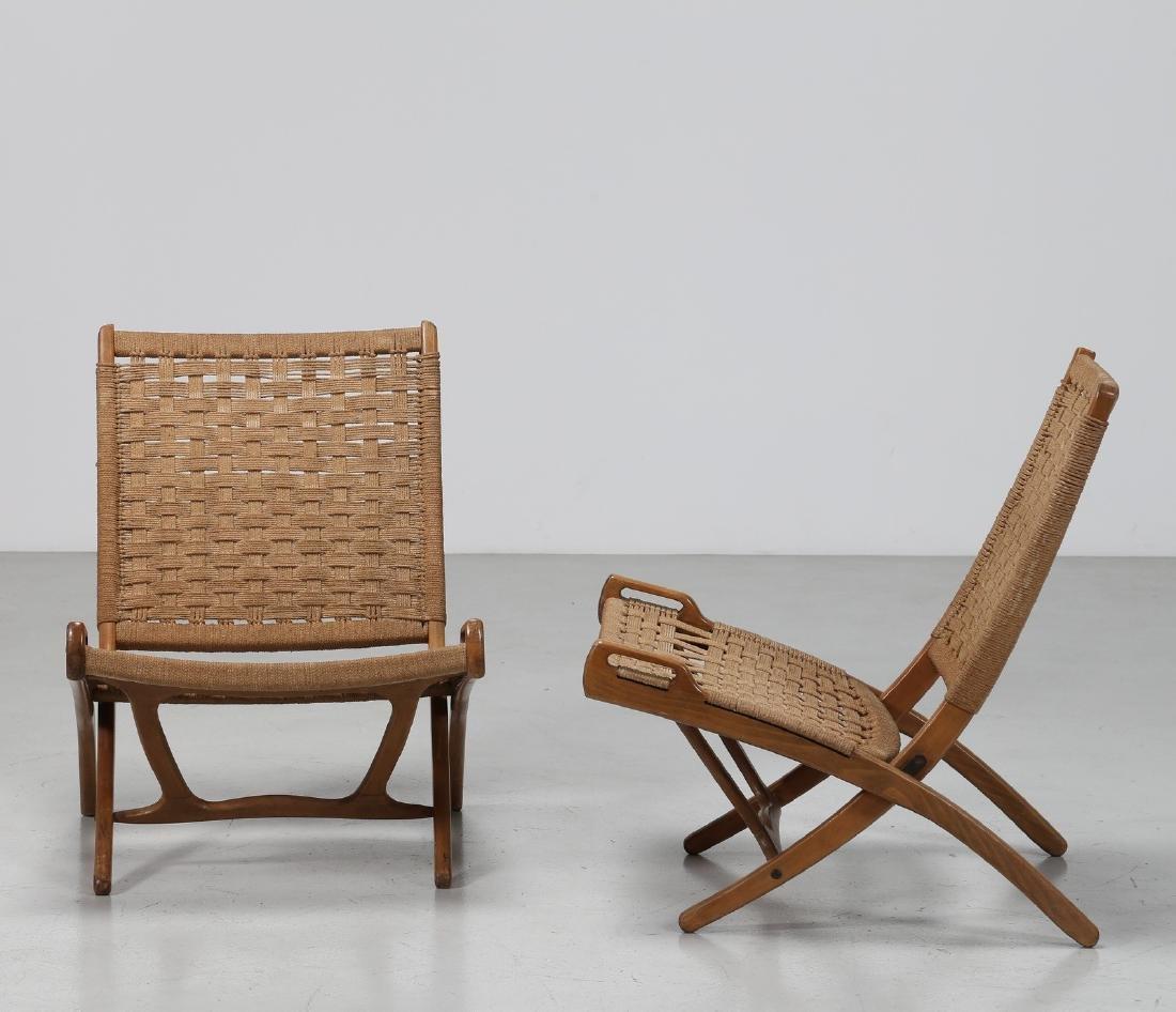 HANS J. WEGNER Pair of folding armchairs. - 2