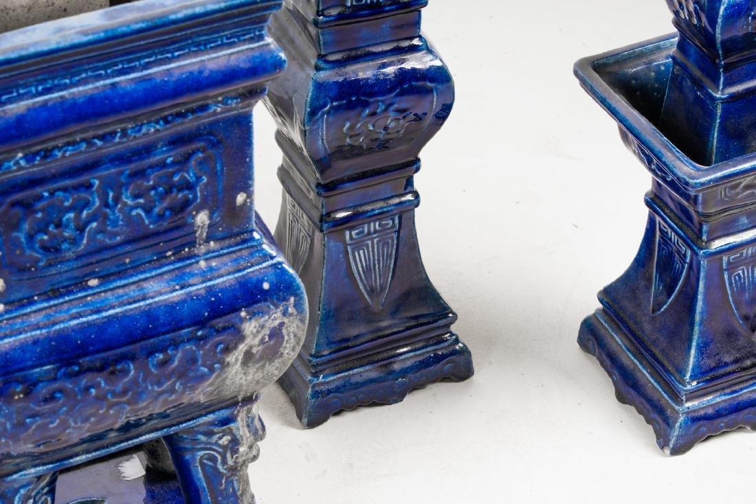 Arte Cinese  A blue glazed altar guarniture set - 4