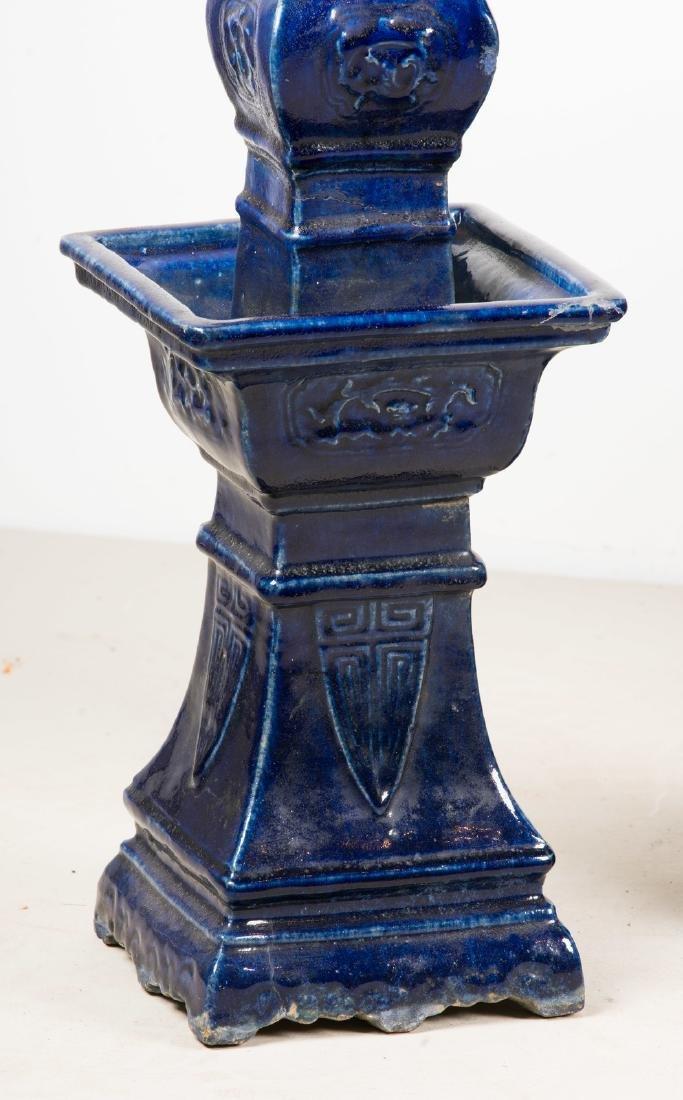 Arte Cinese  A blue glazed altar guarniture set - 8