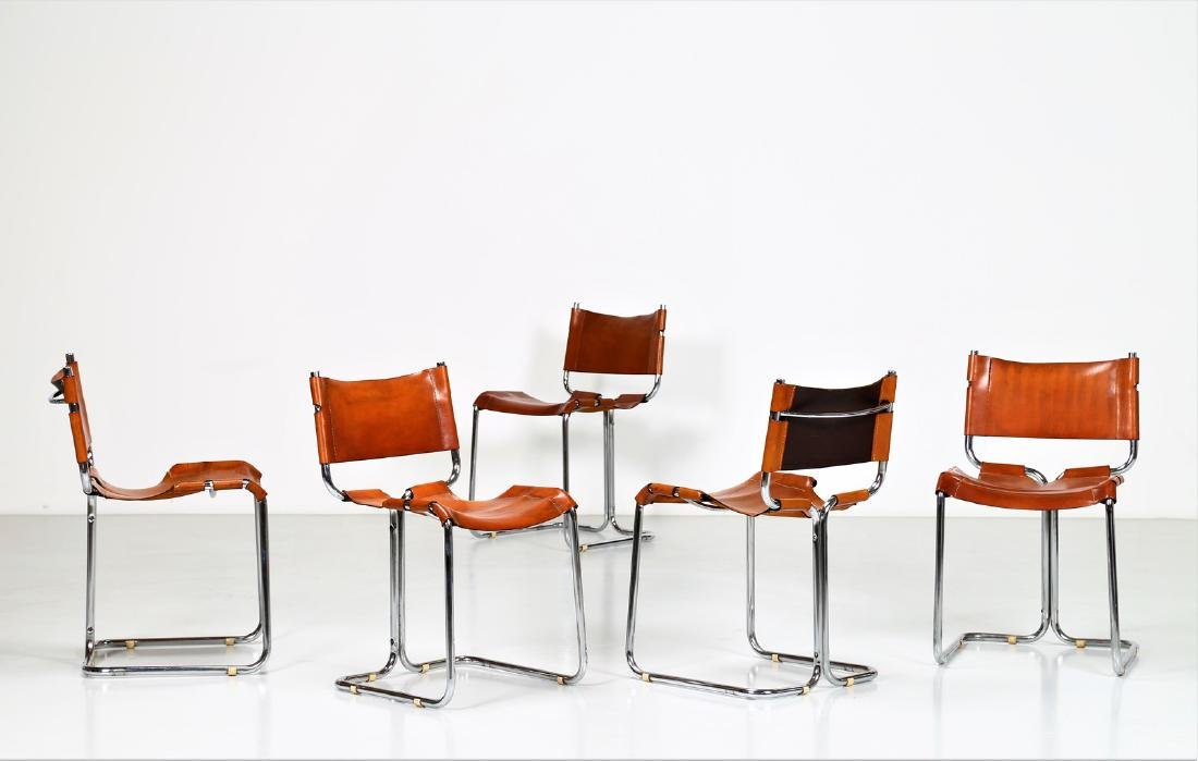 MANIFATTURA ITALIANA  Five chairs in chromed metal and