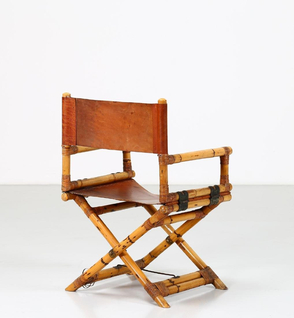 -  Folding bamboo and leather chair, 1960s.