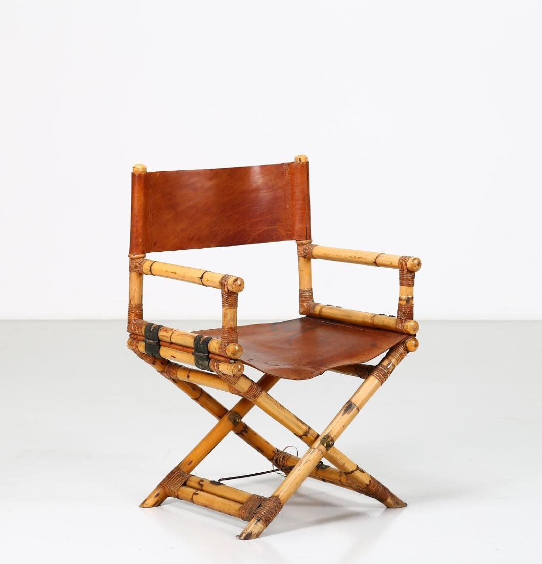 -  Folding bamboo and leather chair, 1960s. - 2