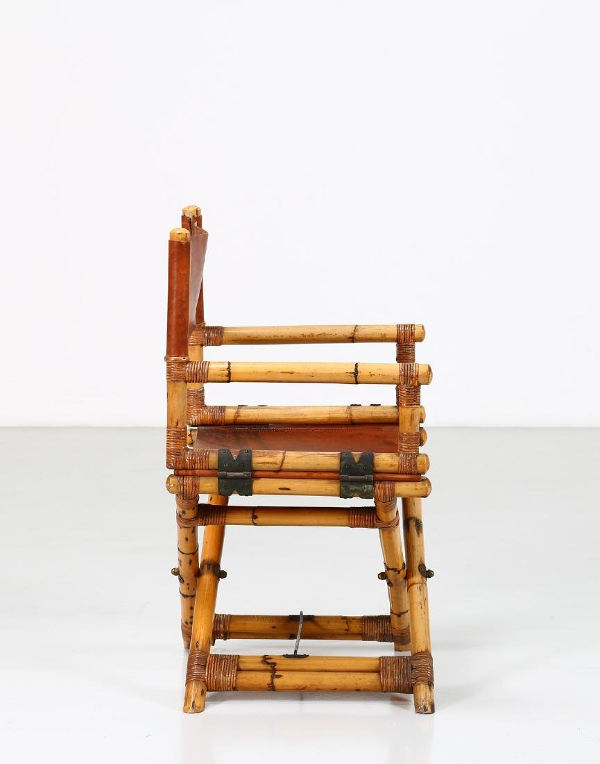 -  Folding bamboo and leather chair, 1960s. - 3