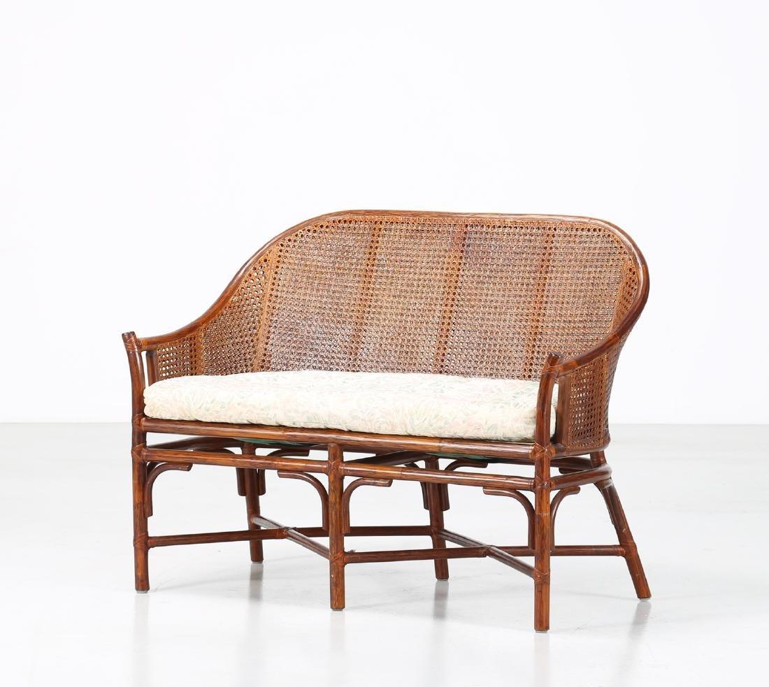 BONACINA 1889 Small sofa in bamboo and cane.