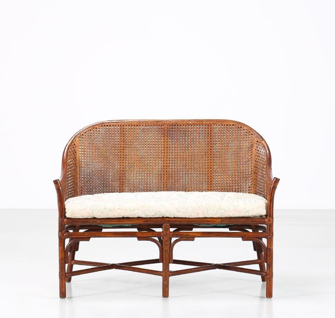 BONACINA 1889 Small sofa in bamboo and cane. - 2