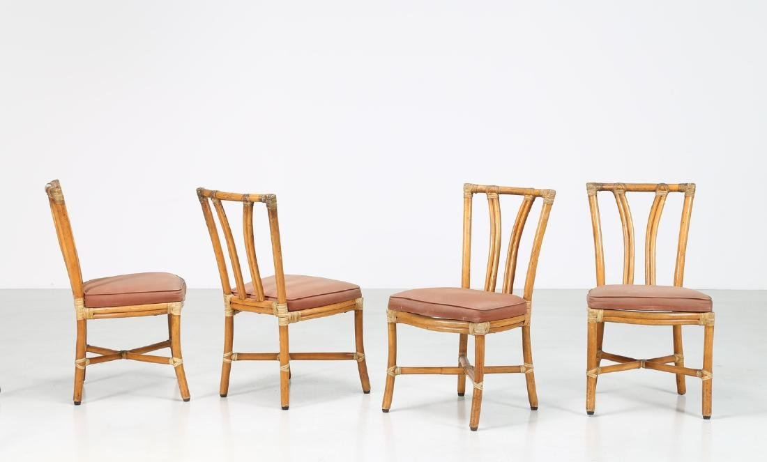 BONACINA 1889 Four bamboo and fabric chairs.