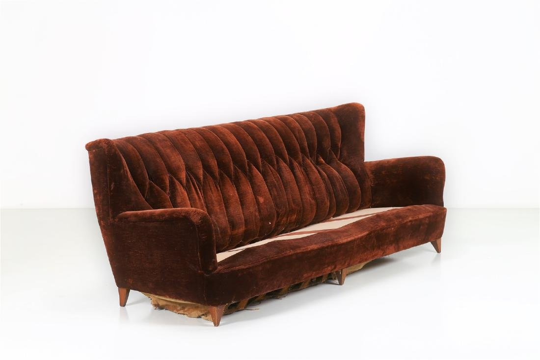MANIFATTURA ITALIANA  Wood and fabric sofa, 1950s.