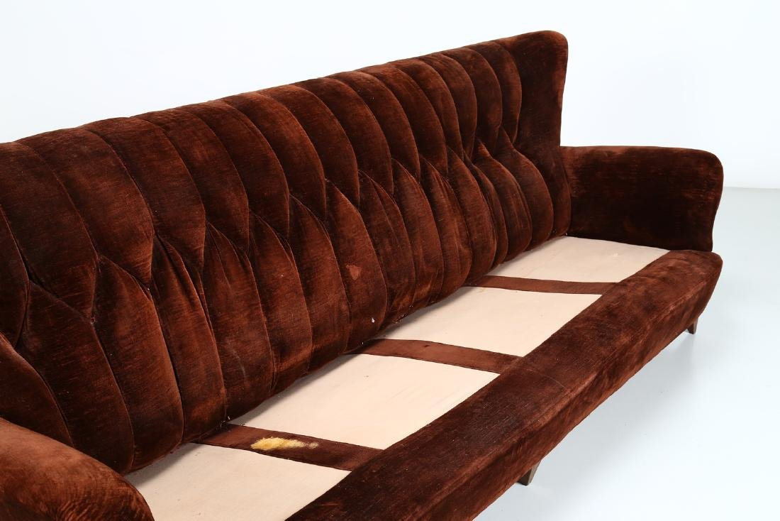 MANIFATTURA ITALIANA  Wood and fabric sofa, 1950s. - 2