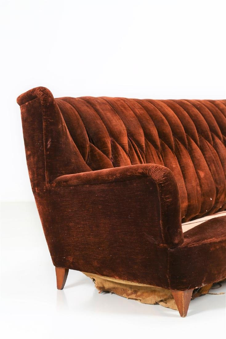 MANIFATTURA ITALIANA  Wood and fabric sofa, 1950s. - 3