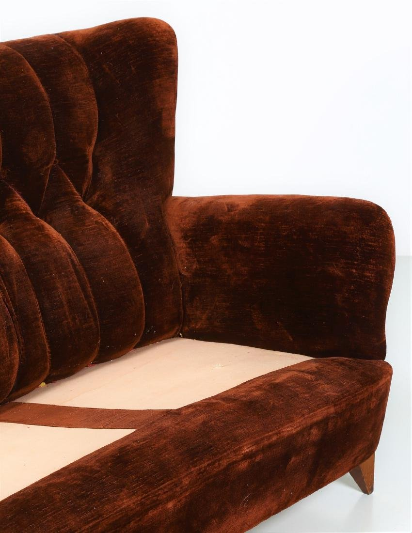 MANIFATTURA ITALIANA  Wood and fabric sofa, 1950s. - 4