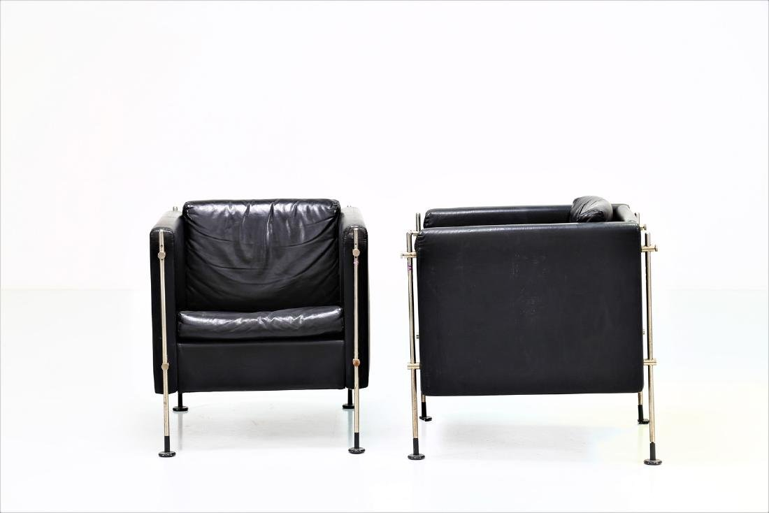 BURKHARD VOGTHERR Pair of armchairs in chromed metal - 2