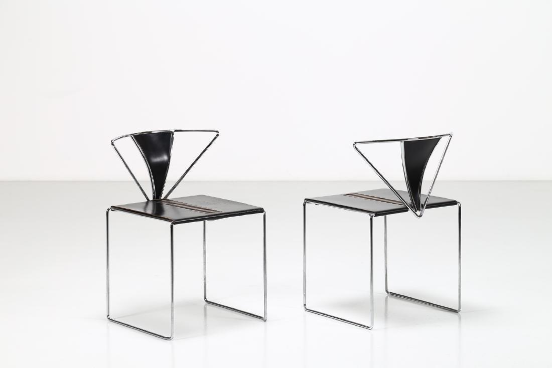 KAZUHIDE TAKAHAMA Pair of chairs in chromed metal and