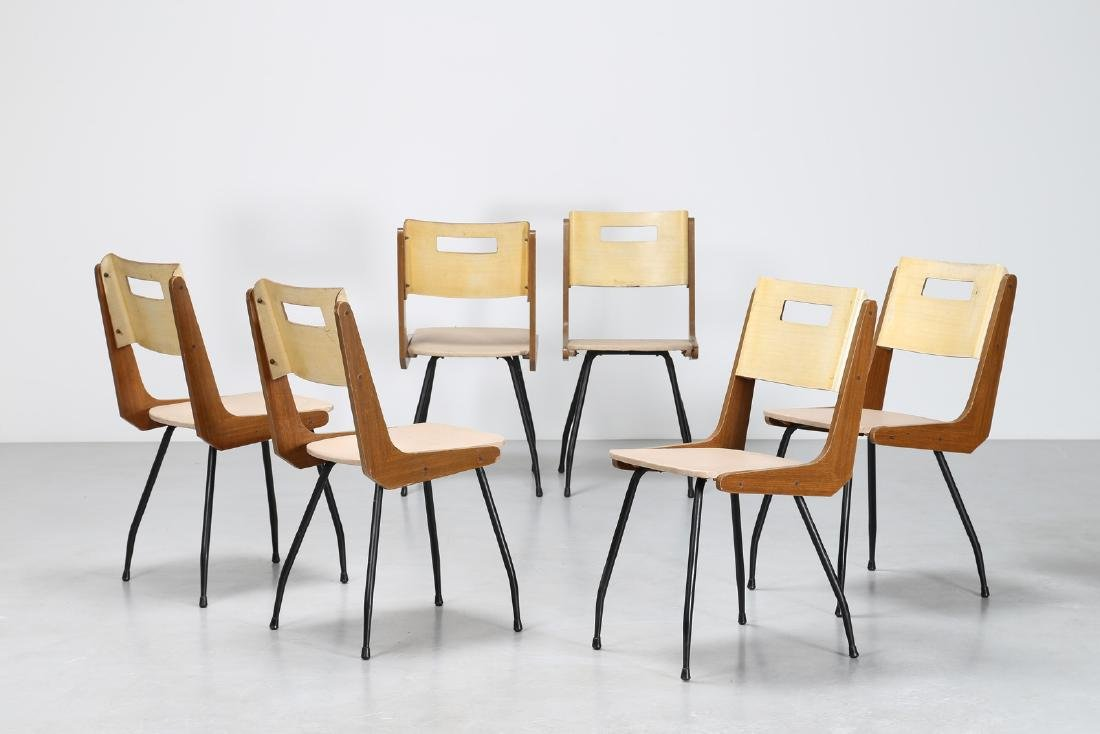 MANIFATTURA ITALIANA  Six chairs in iron, Formica, wood