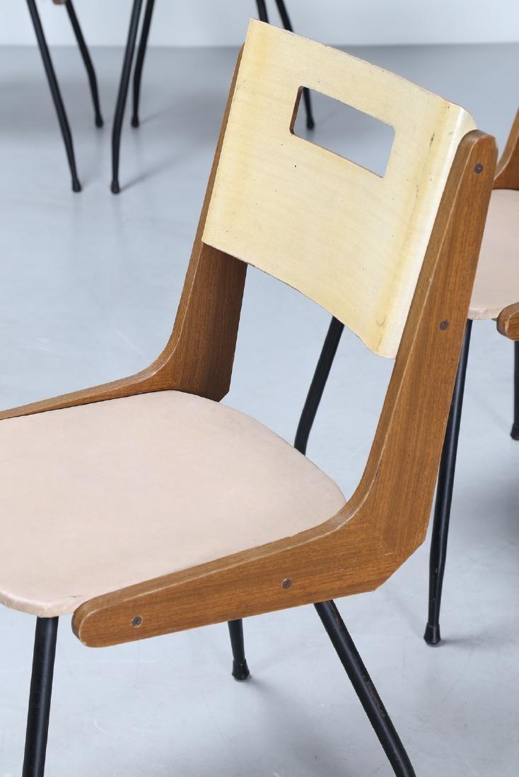 MANIFATTURA ITALIANA  Six chairs in iron, Formica, wood - 3