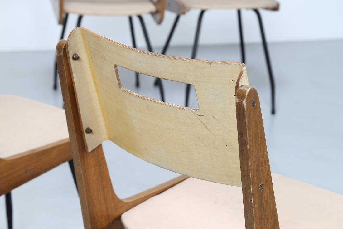 MANIFATTURA ITALIANA  Six chairs in iron, Formica, wood - 4