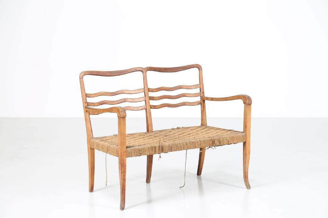 MANIFATTURA ITALIANA  Walnut and cord sofa, 1940s.