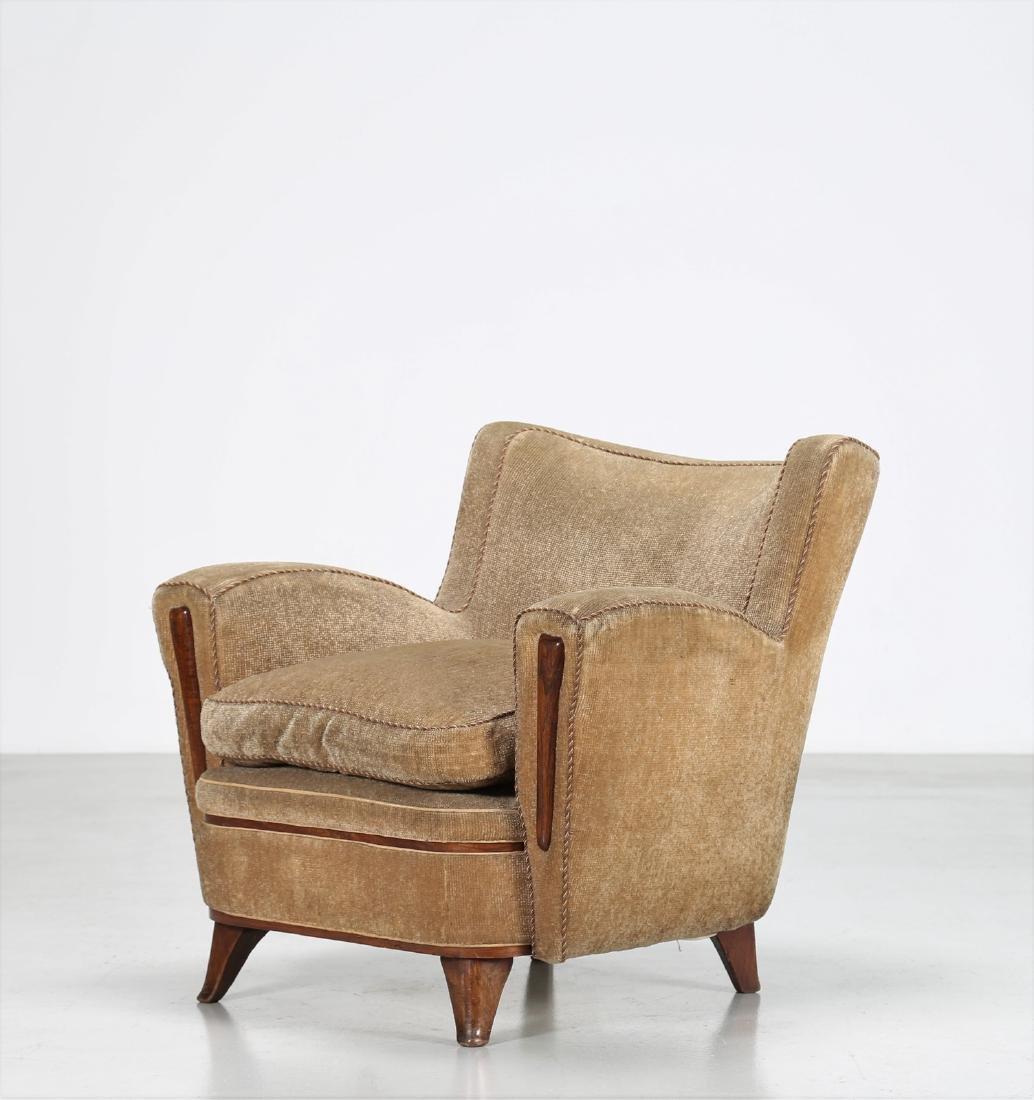 MANIFATTURA ITALIANA  Wood and fabric armchair, 1950s.