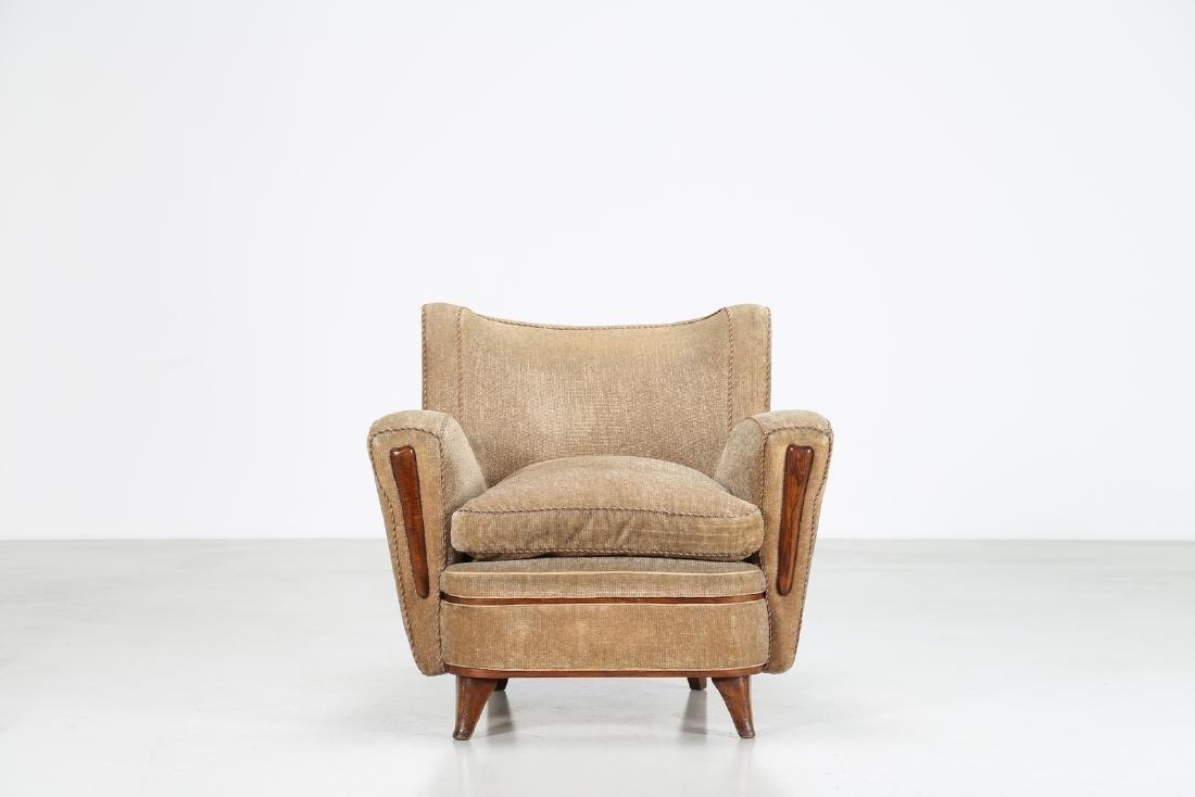 MANIFATTURA ITALIANA  Wood and fabric armchair, 1950s. - 2