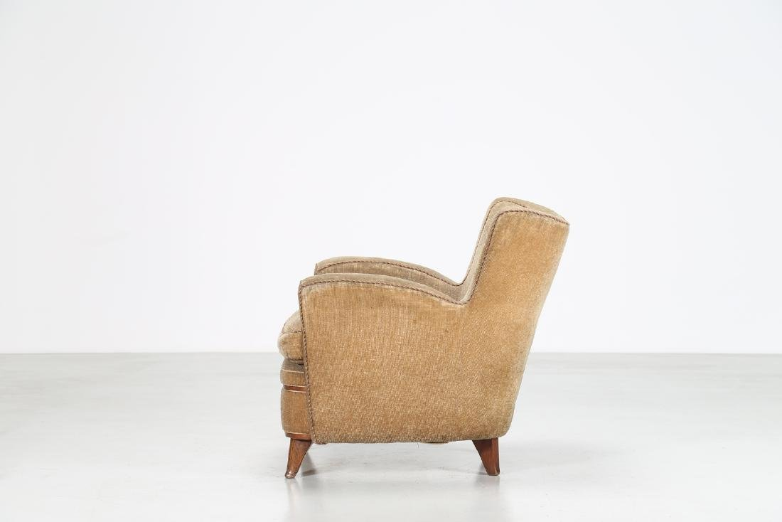 MANIFATTURA ITALIANA  Wood and fabric armchair, 1950s. - 3