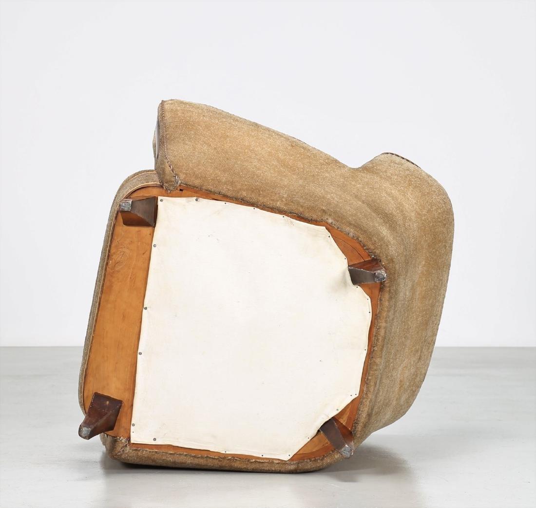 MANIFATTURA ITALIANA  Wood and fabric armchair, 1950s. - 4
