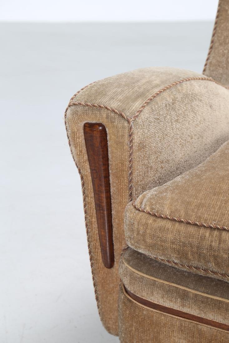 MANIFATTURA ITALIANA  Wood and fabric armchair, 1950s. - 5