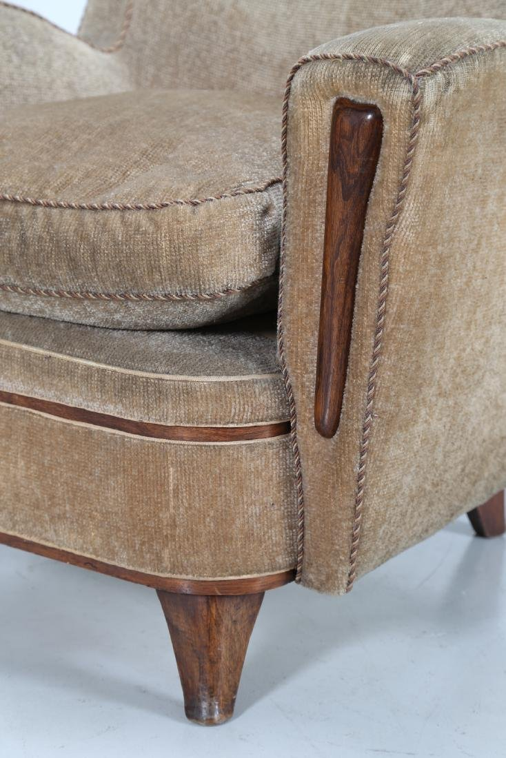 MANIFATTURA ITALIANA  Wood and fabric armchair, 1950s. - 6