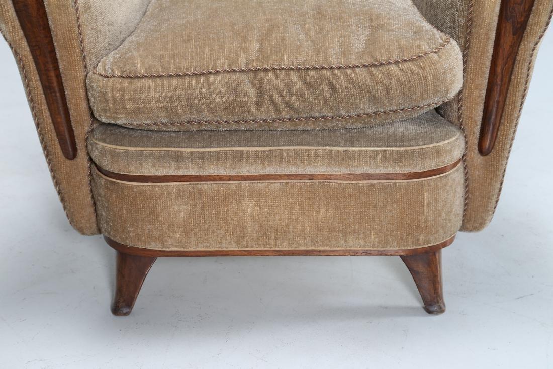 MANIFATTURA ITALIANA  Wood and fabric armchair, 1950s. - 7