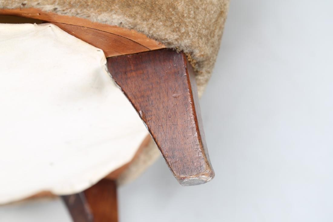 MANIFATTURA ITALIANA  Wood and fabric armchair, 1950s. - 9