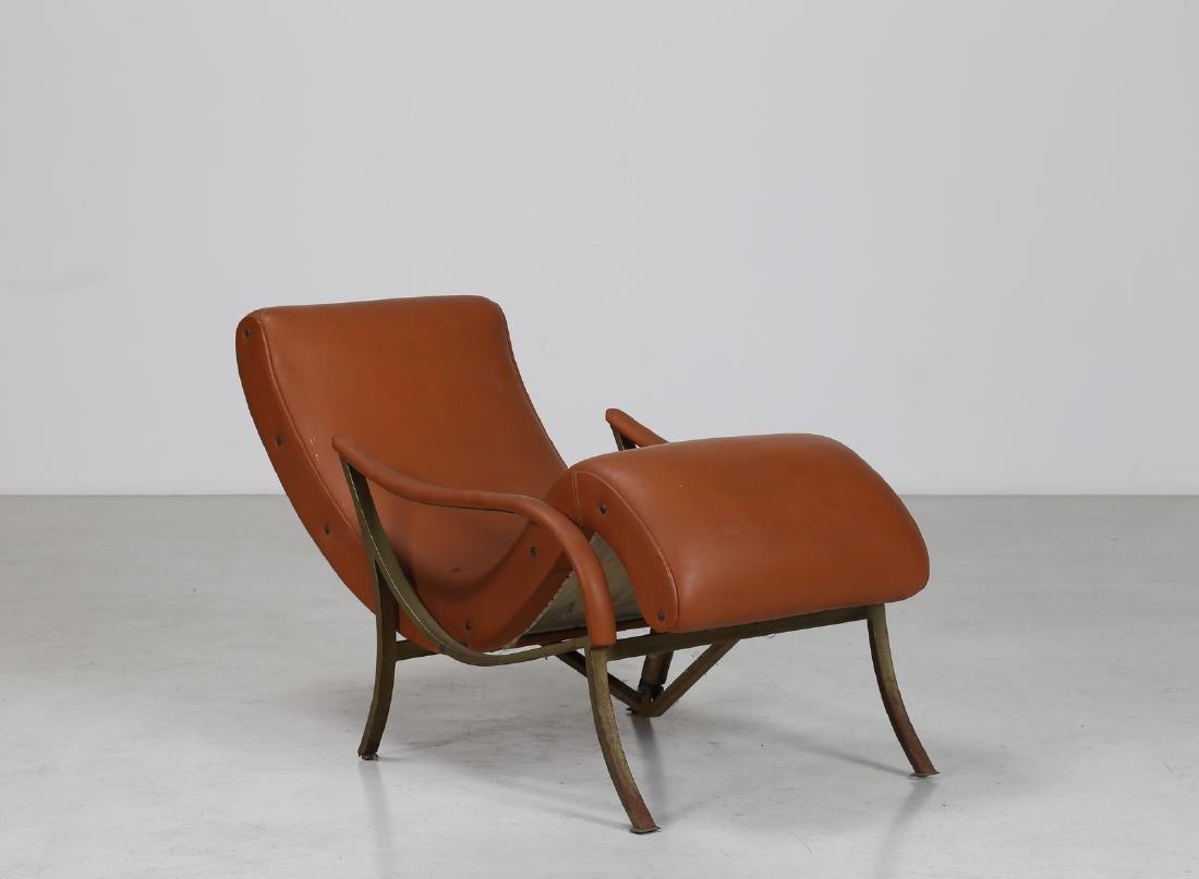 MANIFATTURA ITALIANA  Recliner chair in brass and skai, - 2