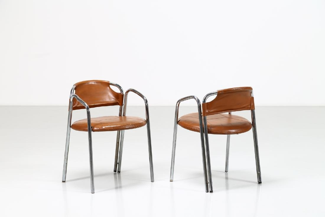 GASTONE RINALDI Pair of chairs in chromed metal and
