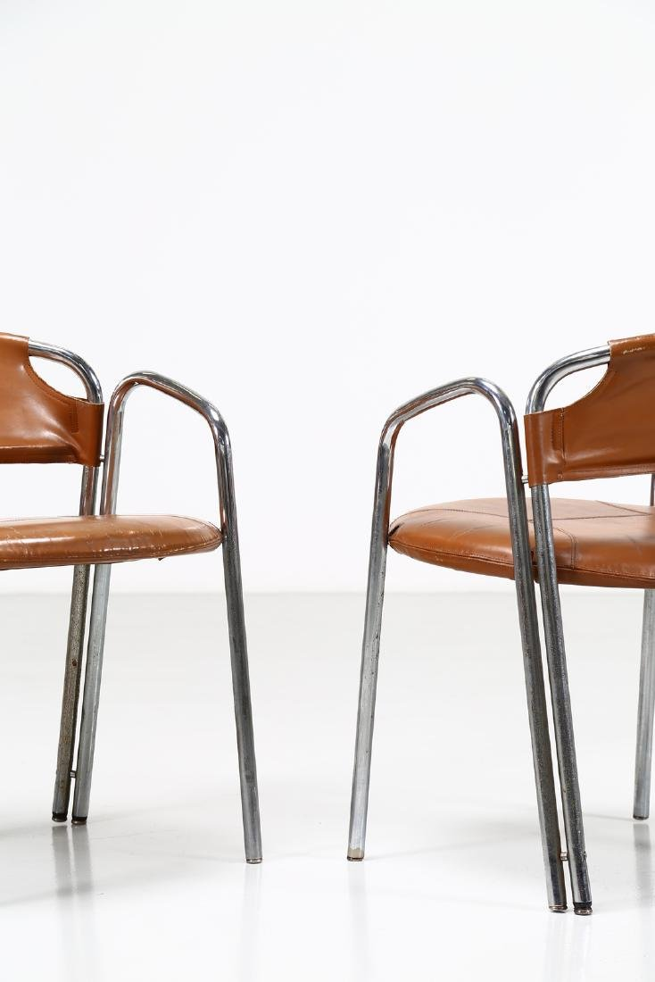 GASTONE RINALDI Pair of chairs in chromed metal and - 2