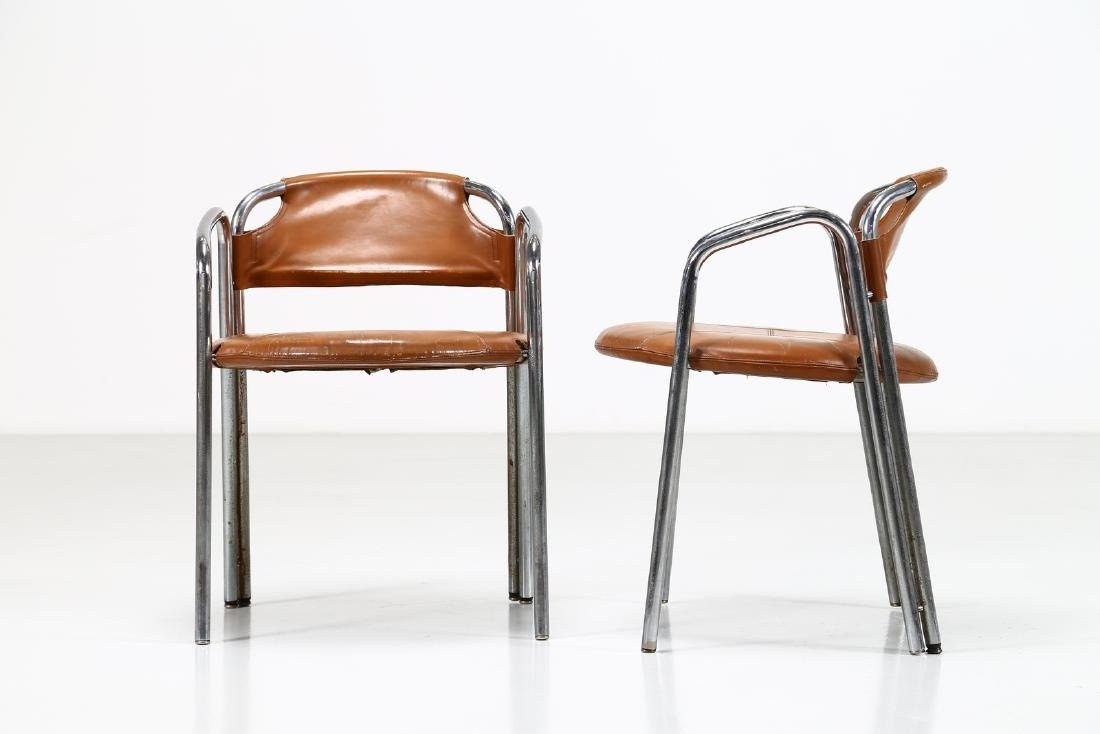 GASTONE RINALDI Pair of chairs in chromed metal and - 6