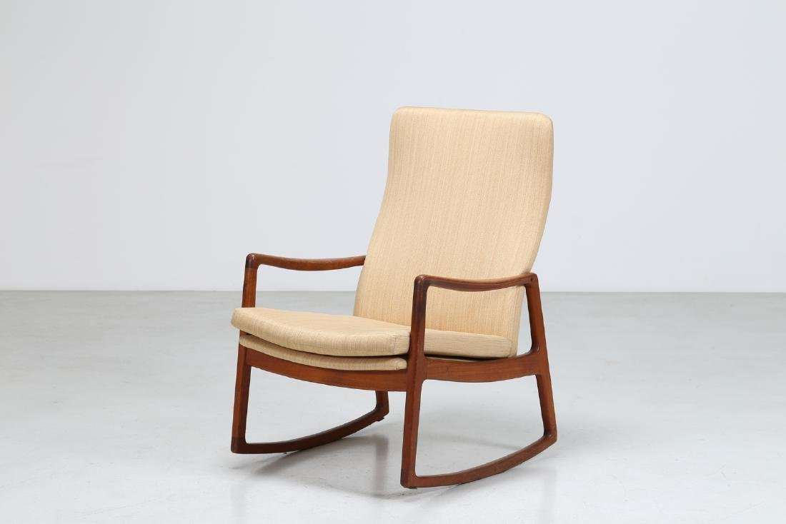 OLE  WANSCHER Rocking chair in teak and fabric, model