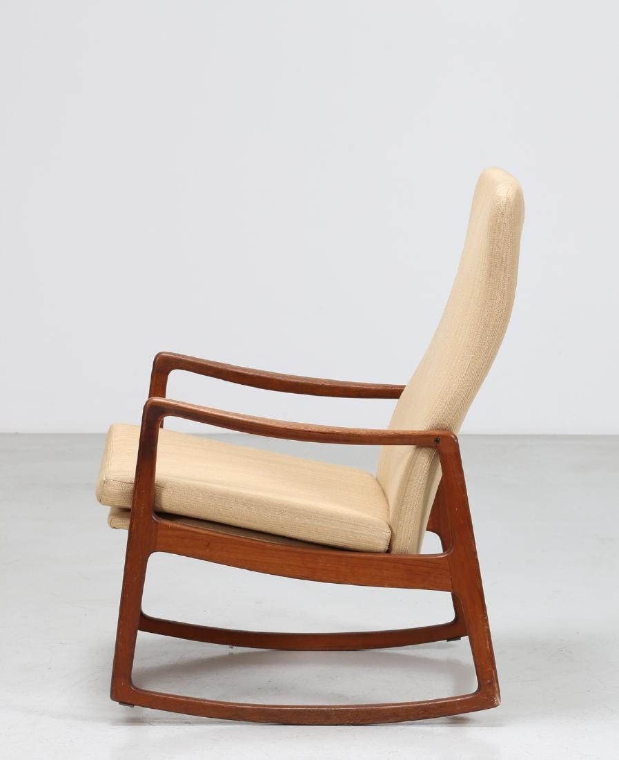 OLE  WANSCHER Rocking chair in teak and fabric, model - 2