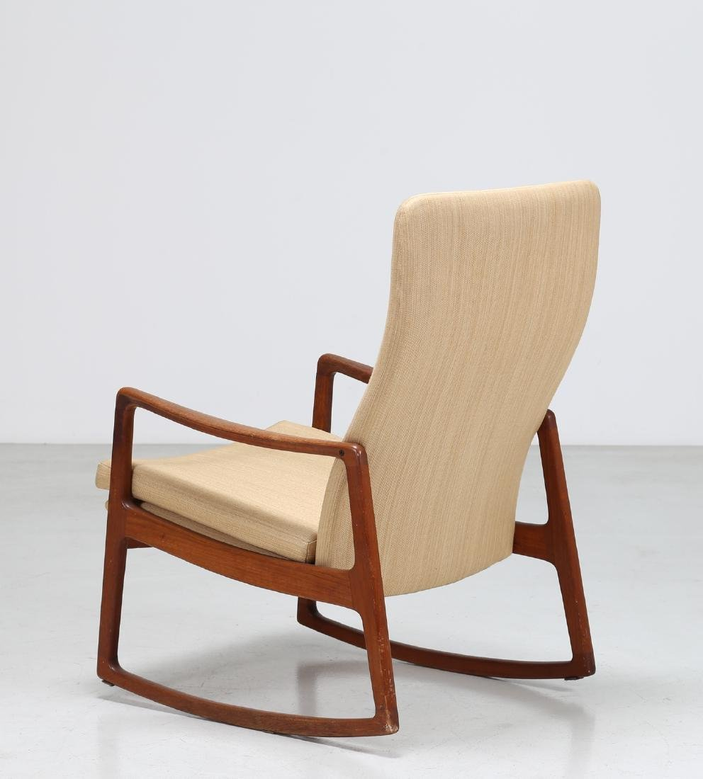 OLE  WANSCHER Rocking chair in teak and fabric, model - 3