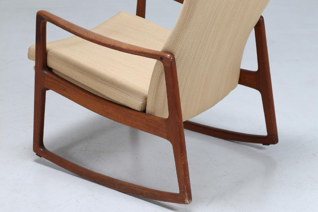 OLE  WANSCHER Rocking chair in teak and fabric, model - 4