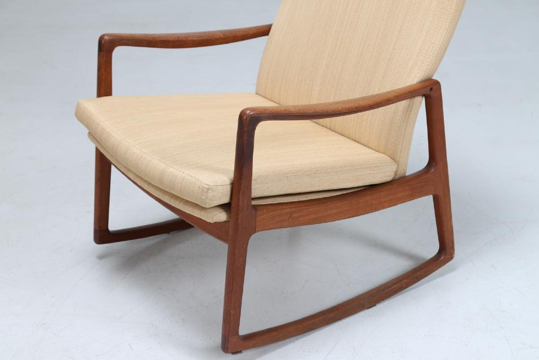 OLE  WANSCHER Rocking chair in teak and fabric, model - 5