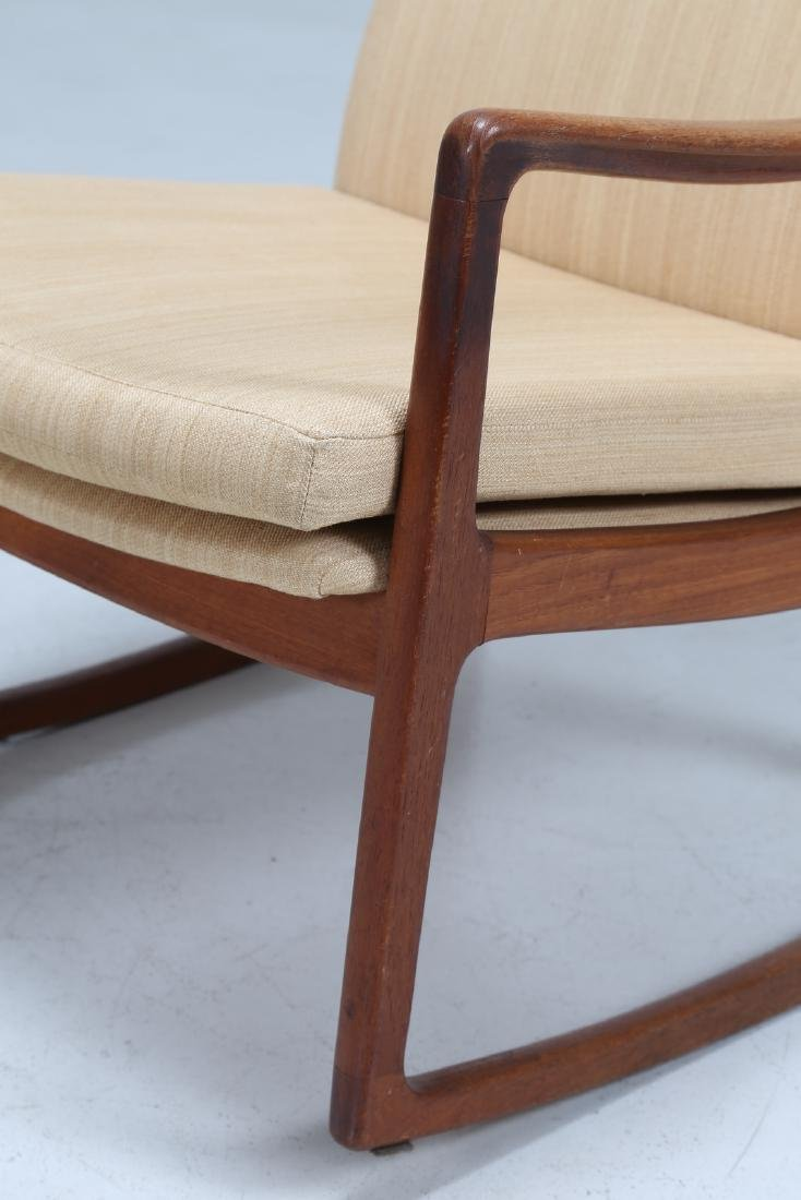 OLE  WANSCHER Rocking chair in teak and fabric, model - 6