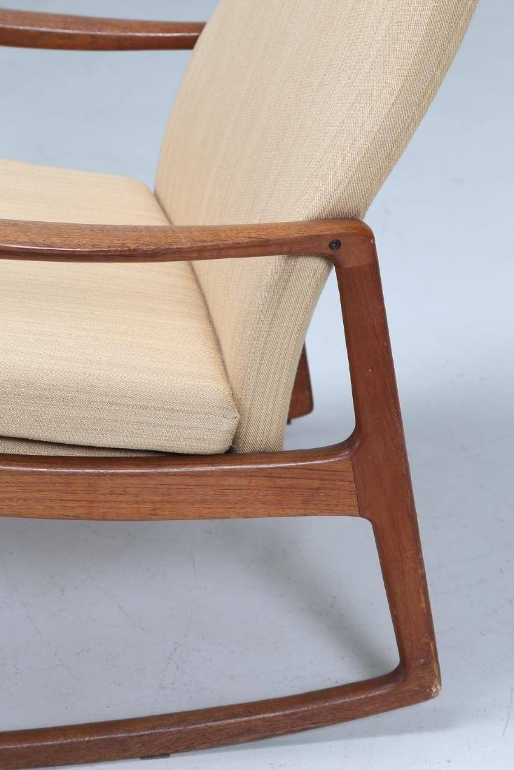 OLE  WANSCHER Rocking chair in teak and fabric, model - 7