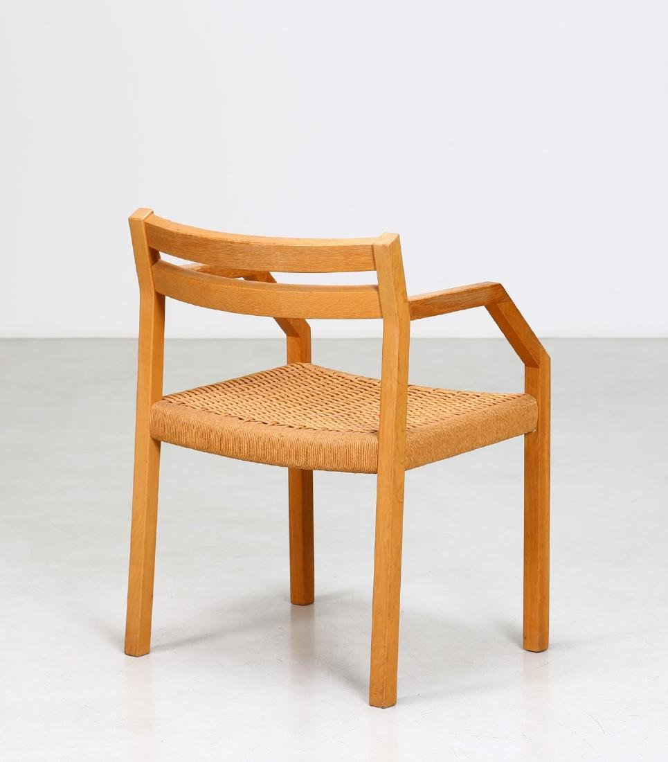 MANIFATTURA DANESE  Elm and raffia chair. - 2