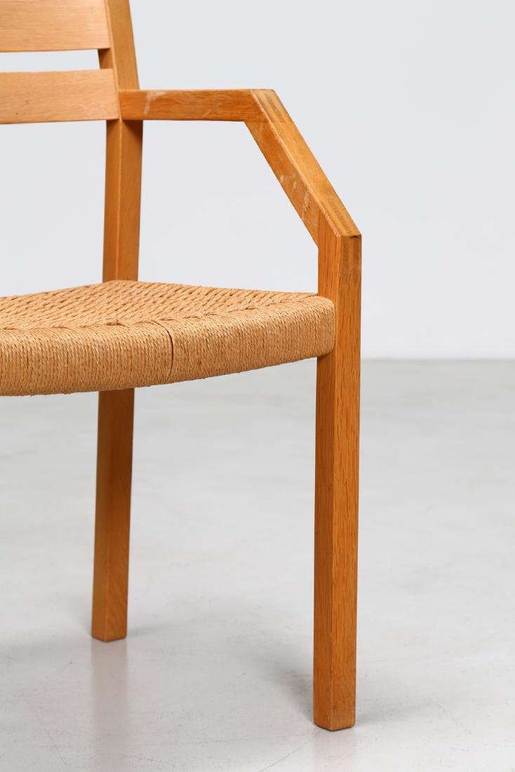 MANIFATTURA DANESE  Elm and raffia chair. - 3