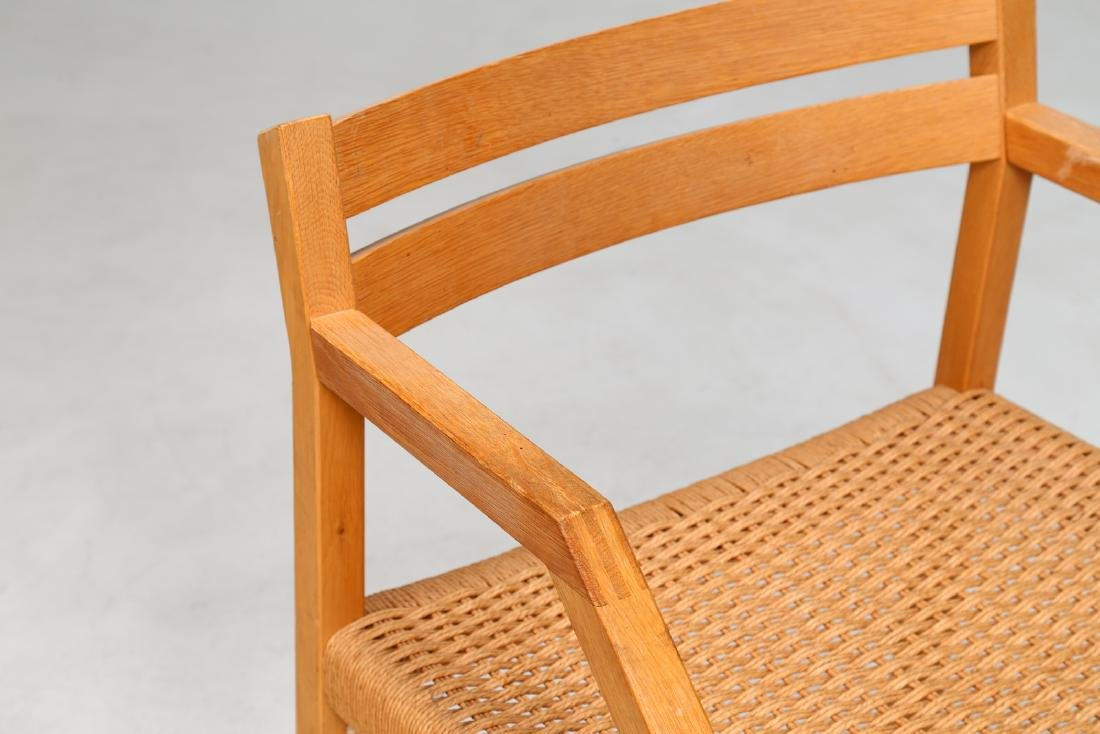 MANIFATTURA DANESE  Elm and raffia chair. - 4