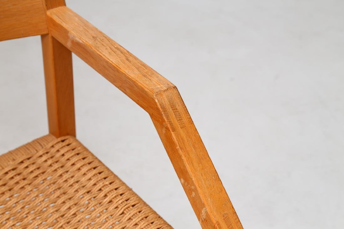 MANIFATTURA DANESE  Elm and raffia chair. - 5